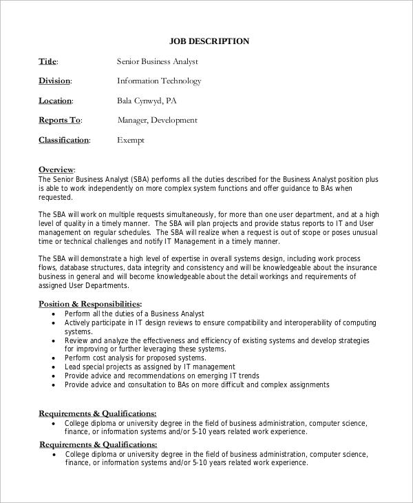 senior business analyst job description