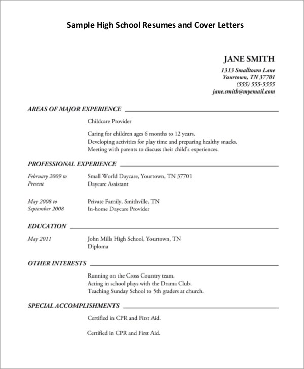 High School Resume And Cover Letter Format Resume Word