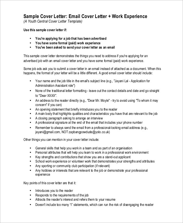 Sample Cover Letter  9 Examples in PDF