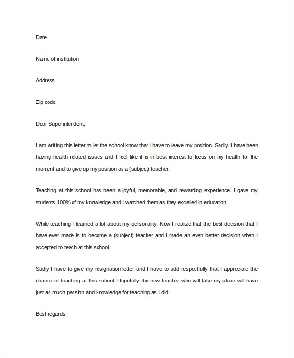 Sample Letter of Resignation  7 Examples in PDF