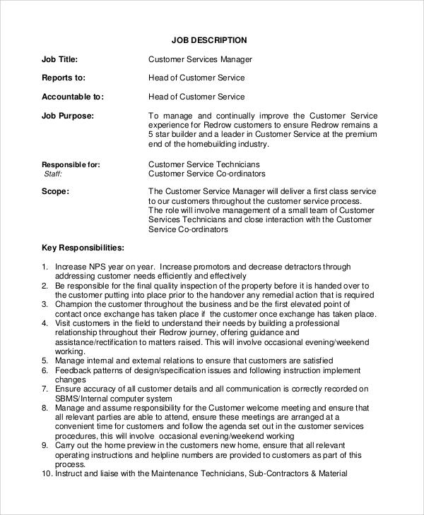 Sample Customer Service Job Description  8 Examples in PDF