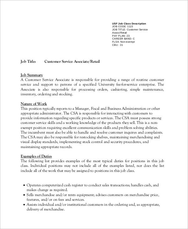 8 Customer Service Job Description Samples Sample Templates