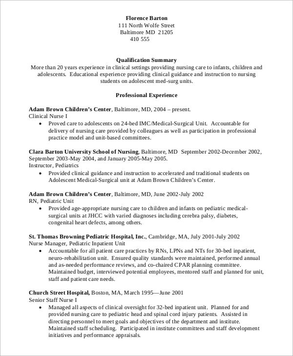 professional nurse resumes