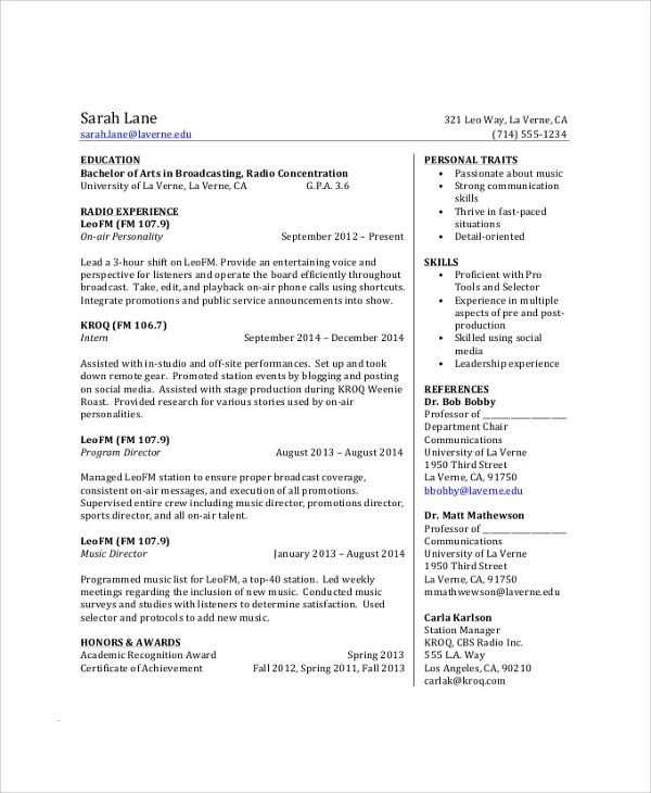 8 Sample College Student Resumes Sample Templates