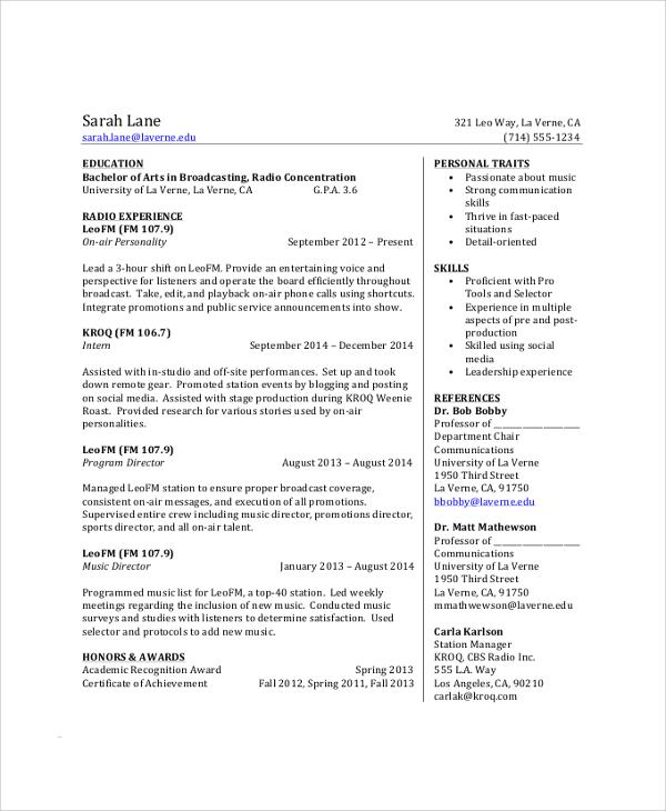 resume format undergraduate students