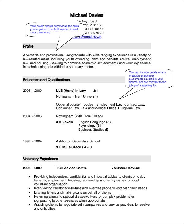 graduate cv example pdf