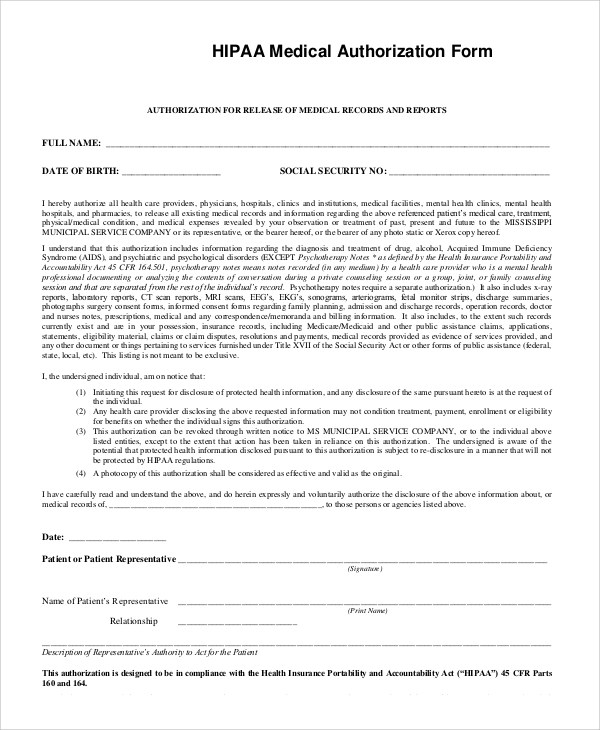 9+ Sample HIPAA Forms | Sample Templates