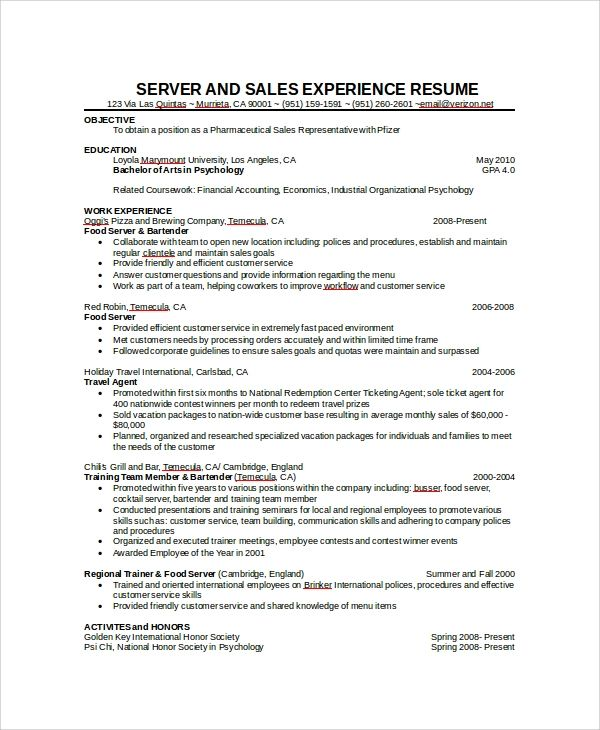 server experience resume examples