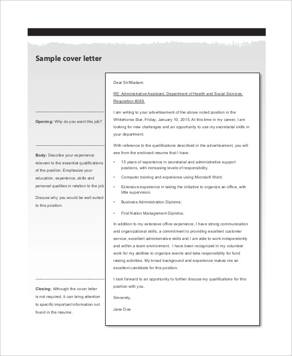 Sample Administrative Assistant Cover Letter  7 Examples in Word PDF
