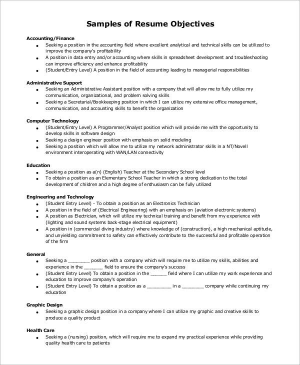 resume general objectives