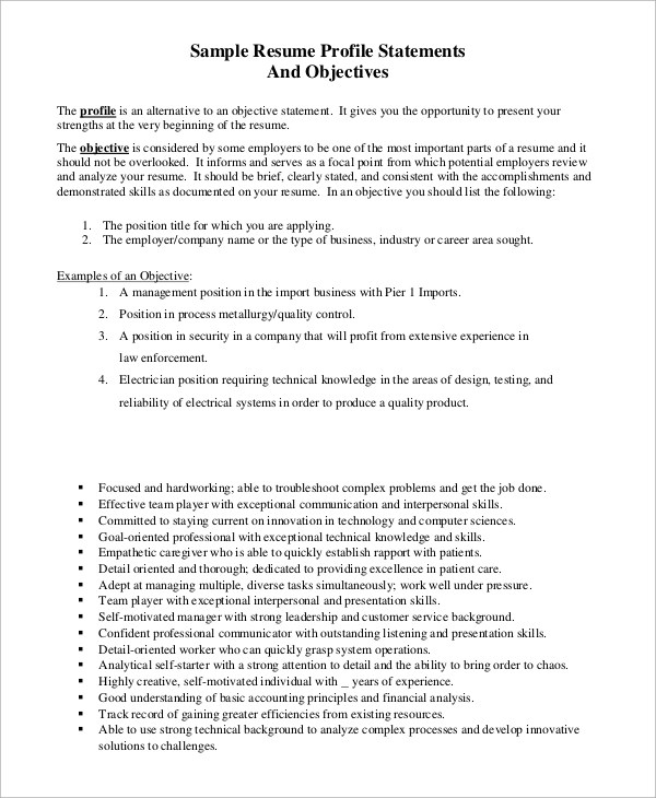 Sample Resume Objective Example 7 Examples In PDF