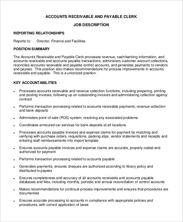Sample Accounts Payable Job Description  9 Examples in Word PDF