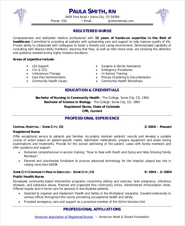 Sample Nurse Resume  9 Examples in Word PDF