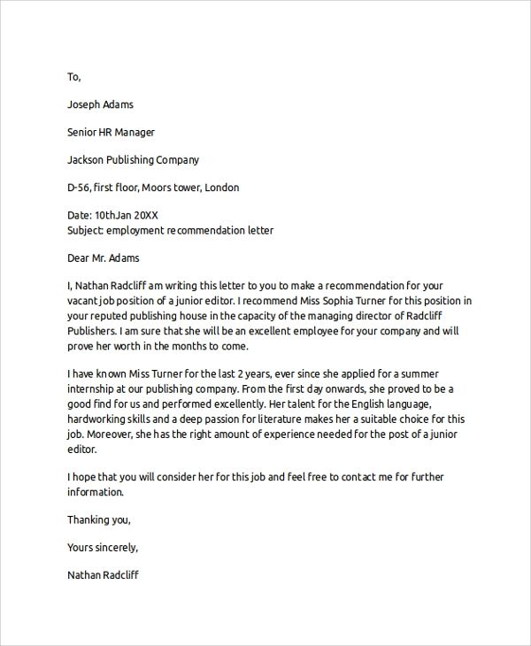 sample letter of recommendation for employment from an employer