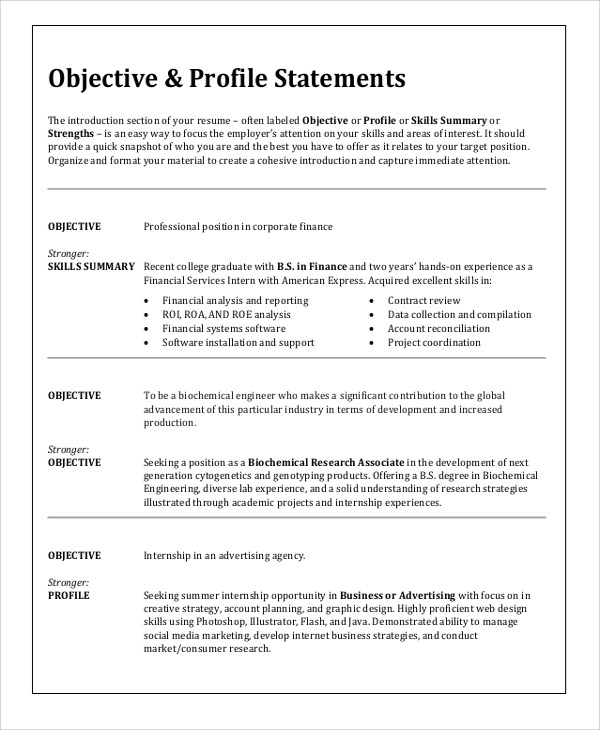 sample resume objective 6 examples in word pdf - Sample Resume For Any Job