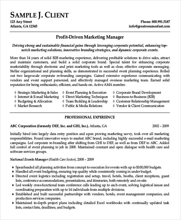 marketing executive resume 2