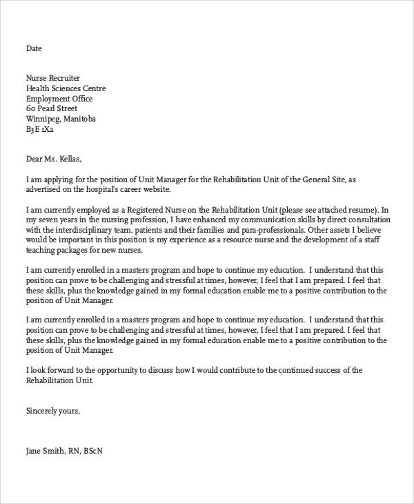 cover letter for nursing jobs