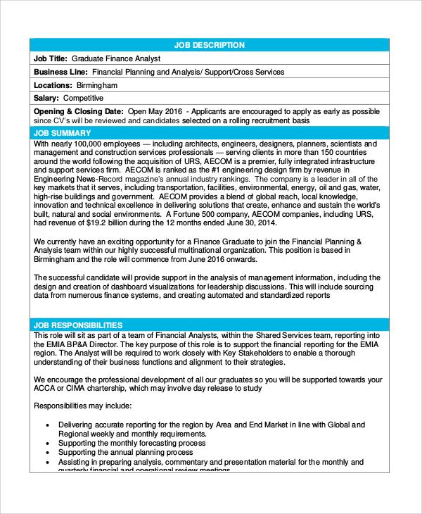 8 Financial Analyst Job Description Samples Sample