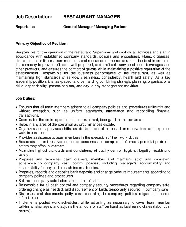 Sample General Manager Job Description  9 Examples in PDF Word