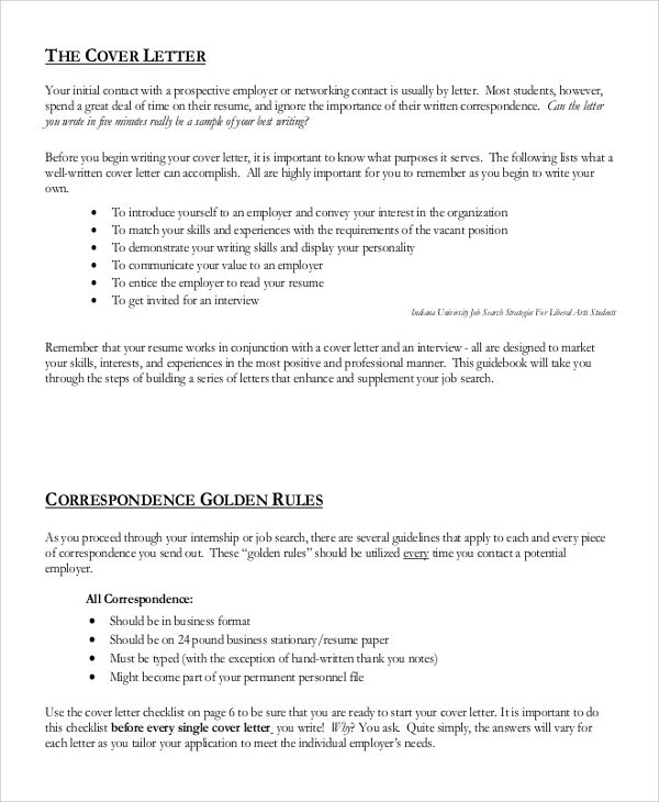resume cover letter rules
