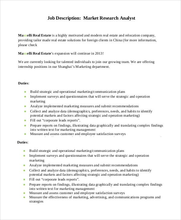 Sample Marketing Job Description  11 Examples in PDF Word