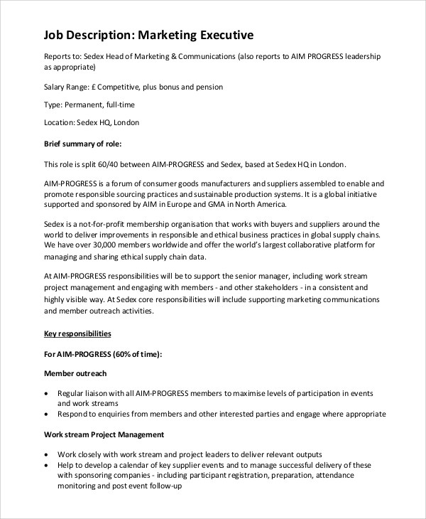 9 Marketing Job Description Samples Sample Templates