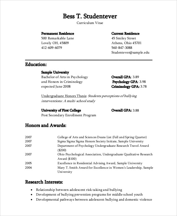 Psychology Resume Template Resume Templates Doc Resume Cv Cover Psychology  Major Resume  Psychology Major Resume
