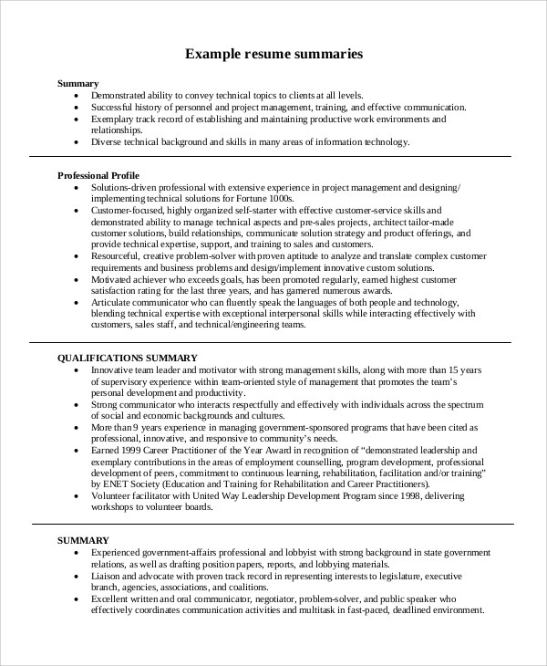 examples of summary in resume examples of resumes