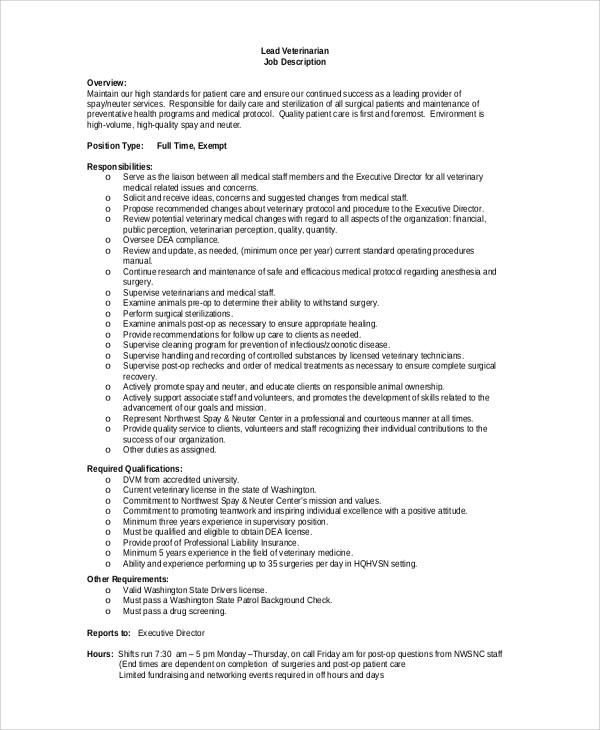 Sample Veterinarian Job Description 8 Examples In PDF Word