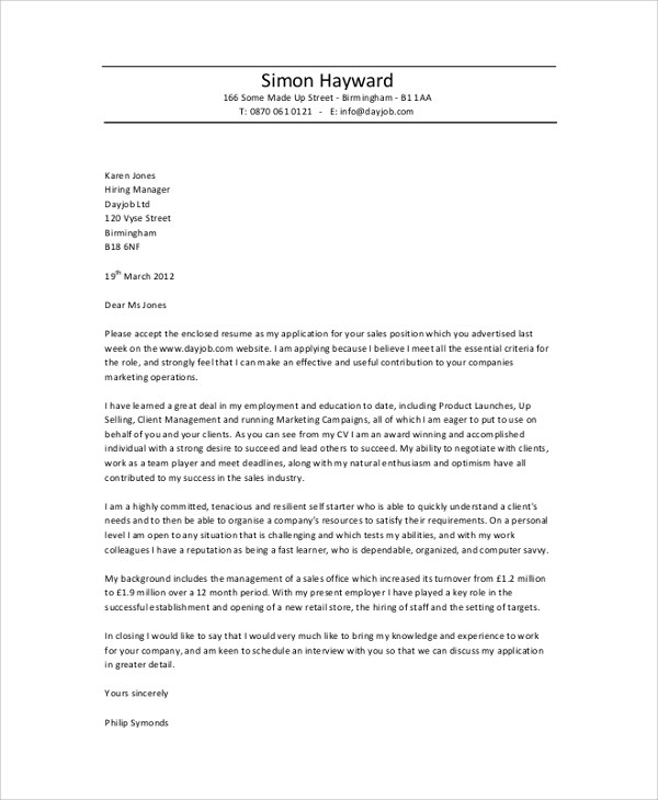 8 Professional Cover Letter Samples Sample Templates