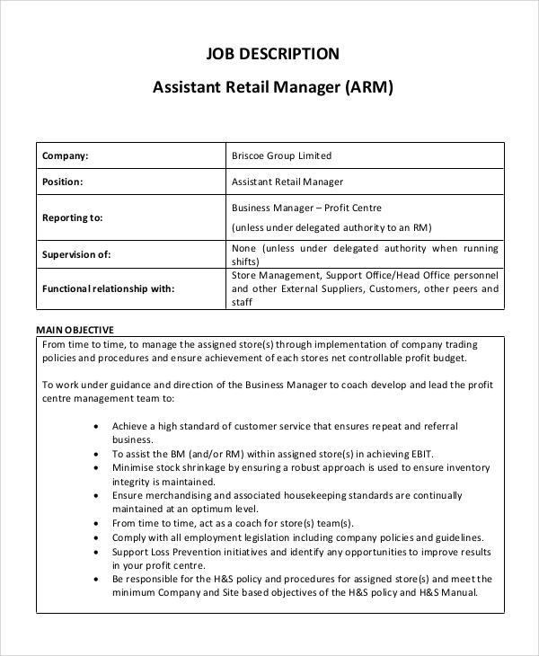 assistant marketing manager job description