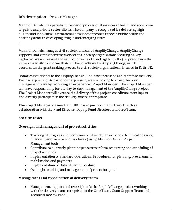 Project Manager Job Description | brandforesight co