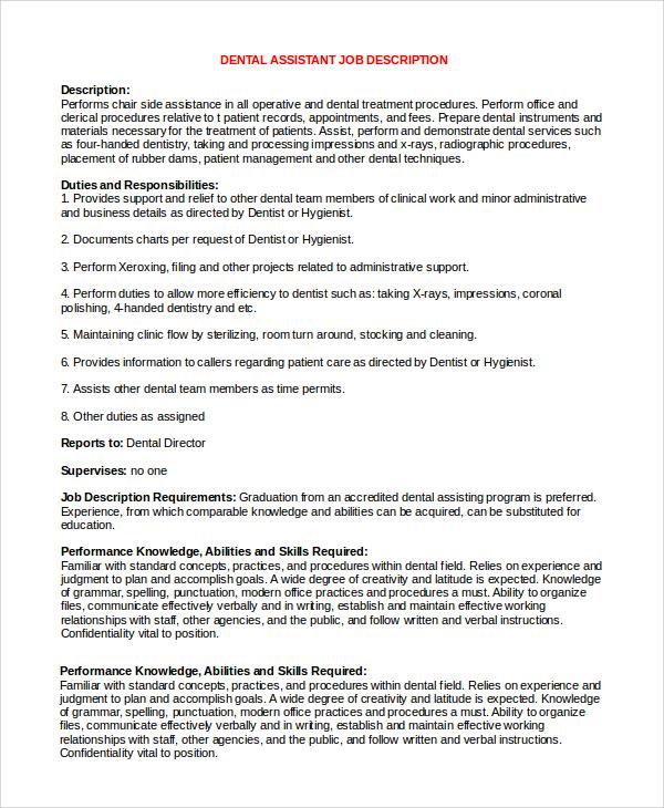 Sample Dental Assistant Job Description 8 Examples In