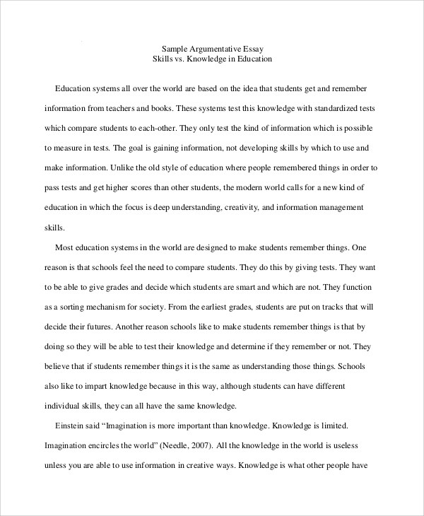 How To Write An Argumentative Essay Sample Argumentative Essay