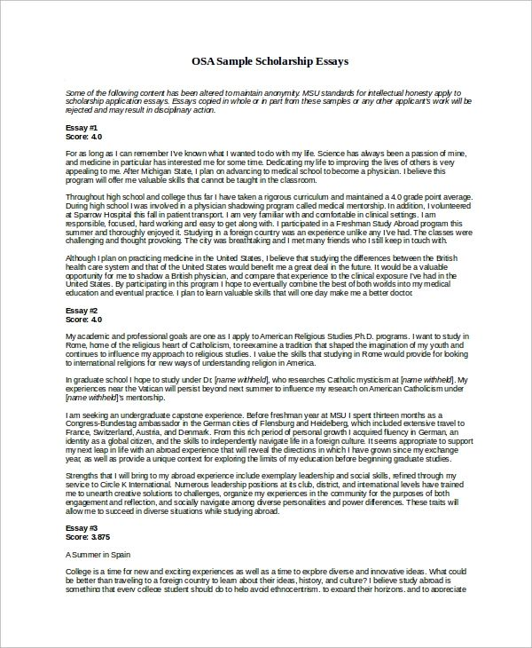 scholarships essay examples