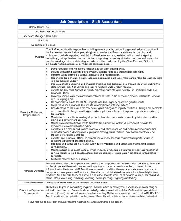 8 Staff Accountant Job Description Samples Sample Templates