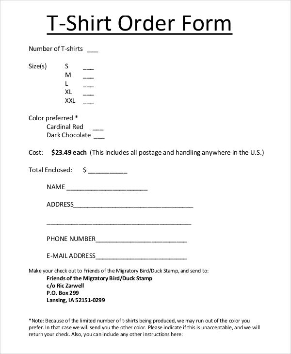 sample shirt order form