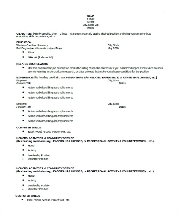 Order Chronological Resume