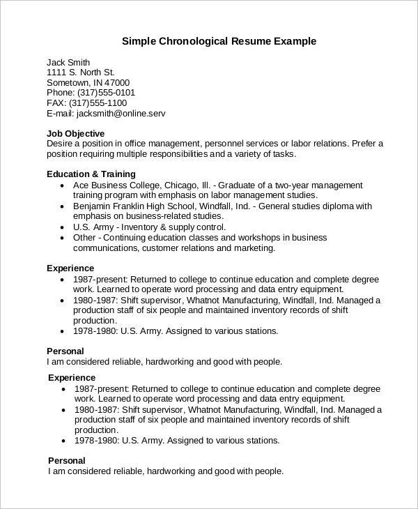 chronological resume examples pdf
