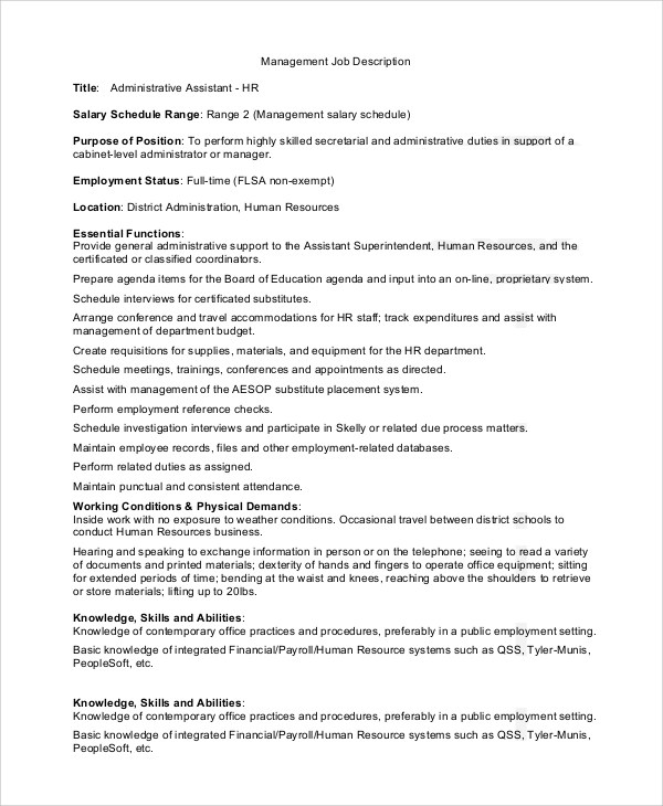 Sample Administrative Assistant Job Description  9 Examples in PDF Word