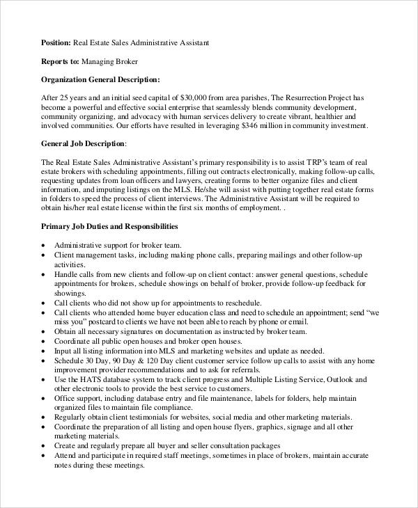 ... Sample Administrative Assistant Job Description   8+ Examples In    Medical Administrative Assistant Job Description ...  Administrative Assistant Description