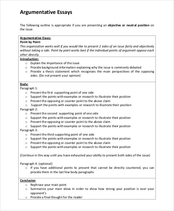 Essay Outline Example Argumentative Essay Outline Essay Outline