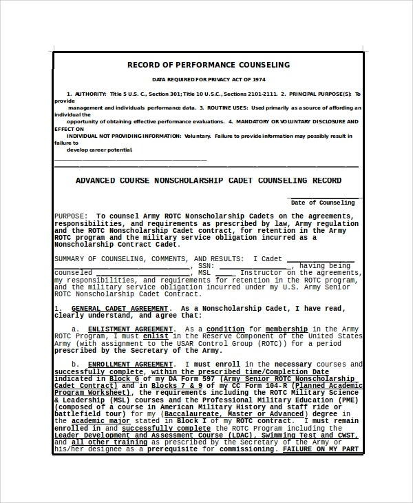 Army Soldier Initial Counseling Examples Pdf
