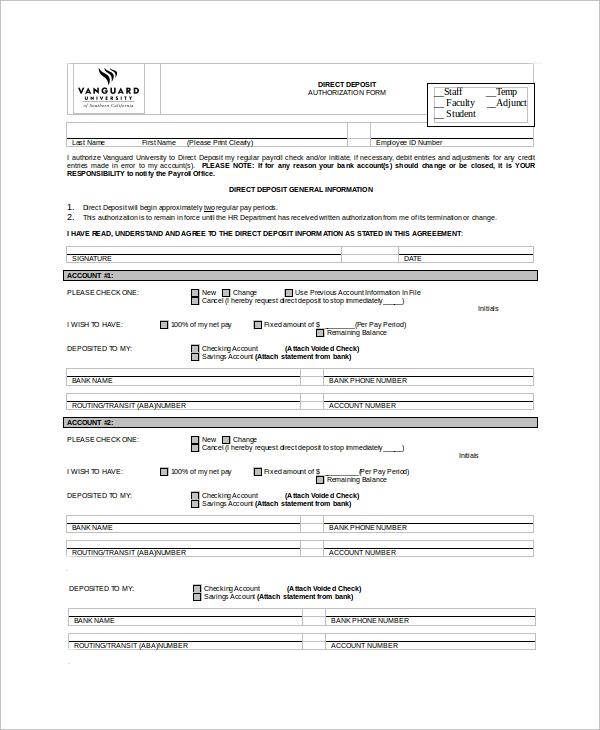 Standard Direct Deposit Authorization Form