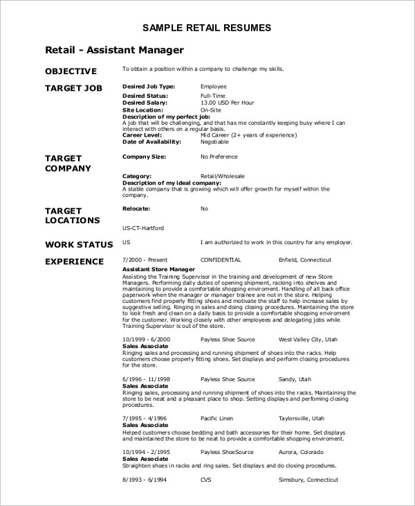 Objectives For Retail Resume Retail Resume Objective Resume