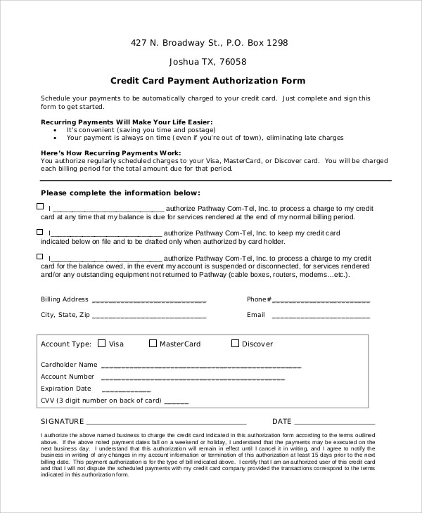 credit card payment form word - April.onthemarch.co