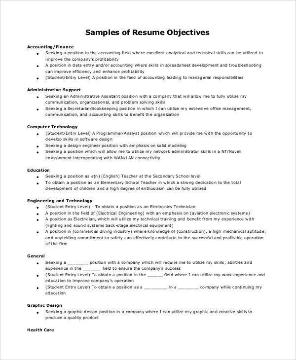 example sales resume objectives