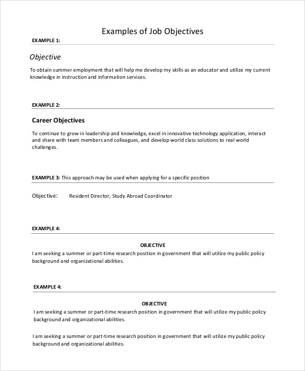 8 Sample Resume Objectives Sample Templates