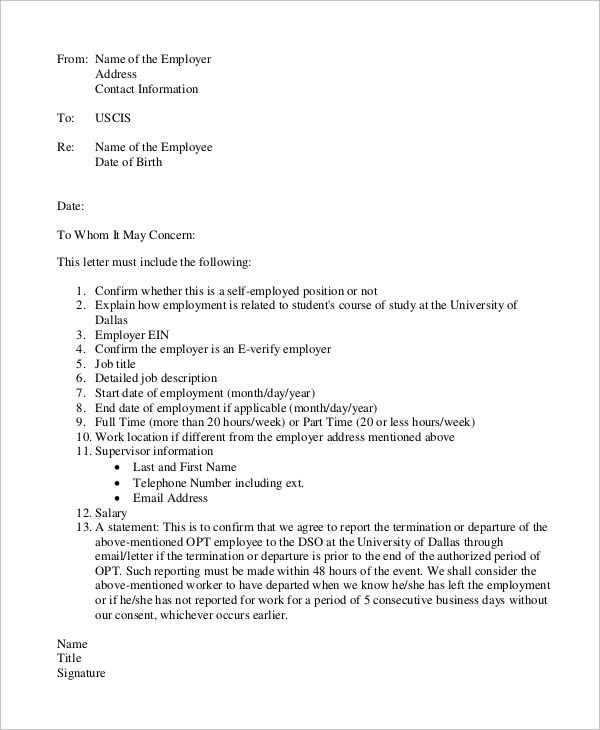 example of letter of employment verification