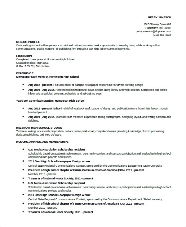 9 Simple Resume Examples Sample Templates